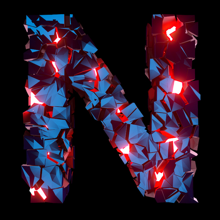 Luminous letter N composed of abstract polygonal shapes