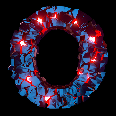 Luminous letter O composed of abstract polygonal shapes