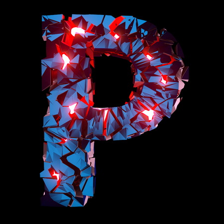 Luminous letter P composed of abstract polygonal shapes