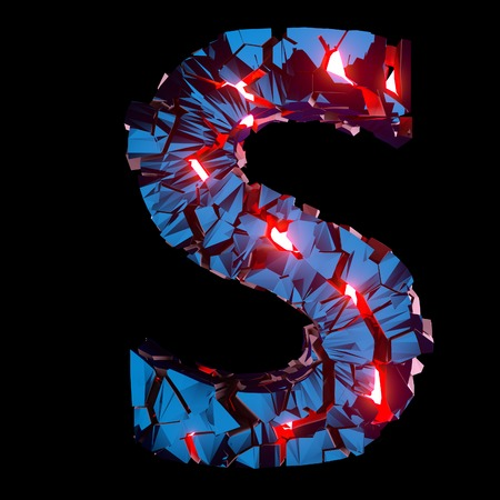 Luminous letter S composed of abstract polygonal shapes