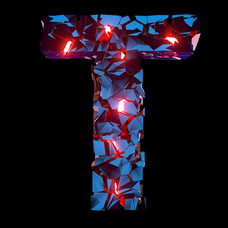 Luminous letter T composed of abstract polygonal shapes Stockfoto