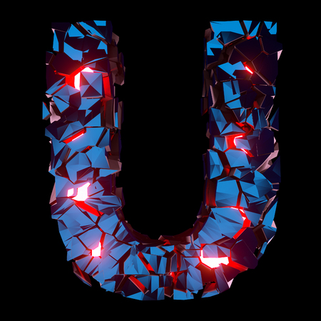 Luminous letter U composed of abstract polygonal shapes Stockfoto