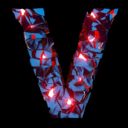 Luminous letter V composed of abstract polygonal shapes