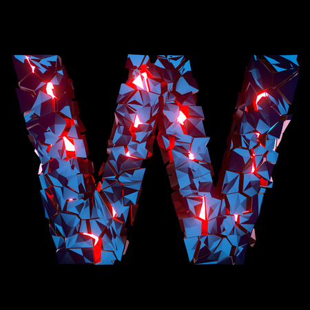 Luminous letter W composed of abstract polygonal shapes