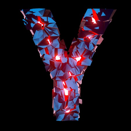 Luminous letter Y composed of abstract polygonal shapes
