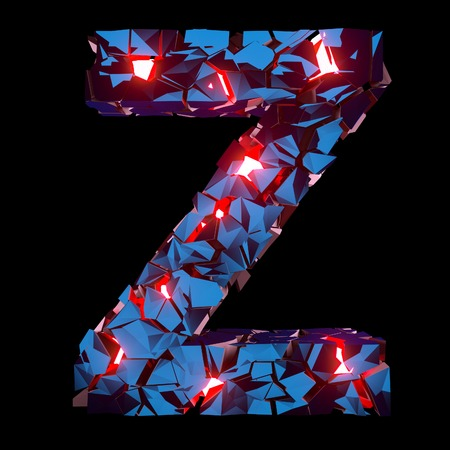 Luminous letter Z composed of abstract polygonal shapes Stockfoto