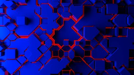 Moder blue polygonal abstraction