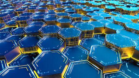 hexagonal abstract modern background. 3d render.