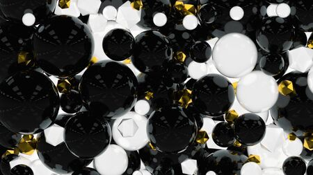 Abstract 3d render with gold balls. 3d render.