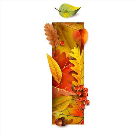 Autumn stylized alphabet with foliage. Letter I.