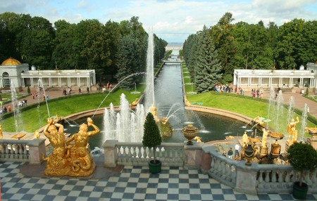 balustrades: Peterhof, a terrace of the Grand Palace Stock Photo