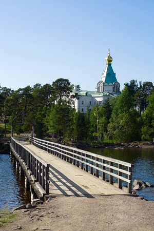 Island Valaam, Spaso-Preobrazhensky monastery, the bridge on the road to St. Nicholas skete photo