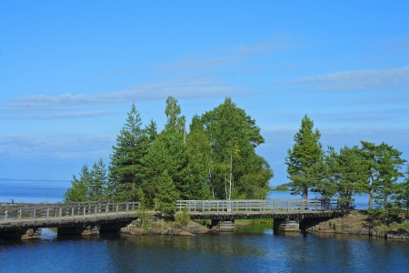 Island Valaam, Spaso-Preobrazhensky monastery, wooden bridges between the Islands on the way to St. Nicholas skete photo