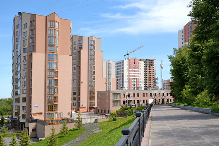 multi storey: The city of Kemerovo, Siberia, new buildings on the waterfront of the river Tom