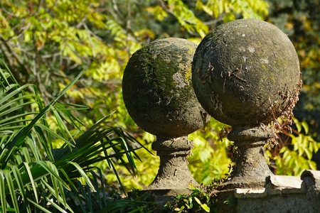 Concrete Balls At The Garden Hedge, Overgrown With Moss Stock Photo,  Picture And Royalty Free Image. Image 33933322.