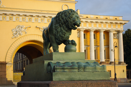 cast iron red: Saint-Petersburg, the figure of a watchdog lion at the Admiralty embankment