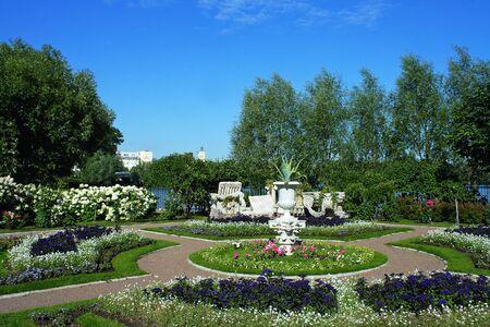 olgas: Peterhof, a flower bed at on Czarinas island at Olgas pond