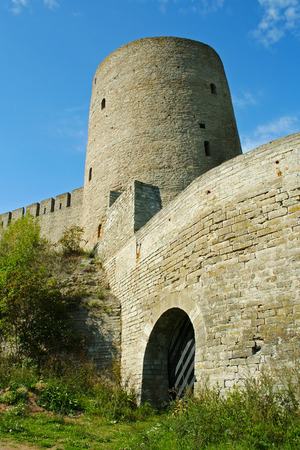 loopholes: Necked tower Ivangorod fortress on the border of Russia and Estonia