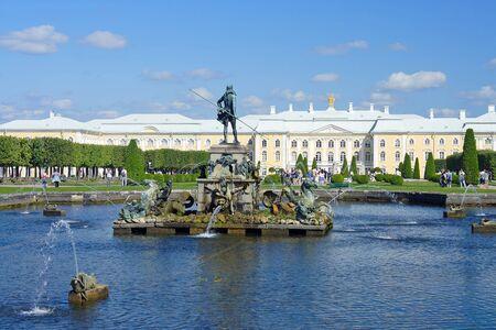 peterhof: The Neptune fountain in the Upper gardens of Peterhof summer day Editorial