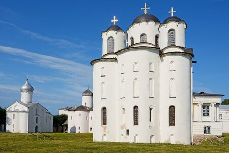 st nicholas: Novgorod the Great, St. Nicholas Dvorischensky Cathedral (the Cathedral of St. Nicholas in Yaroslavs Court) Stock Photo