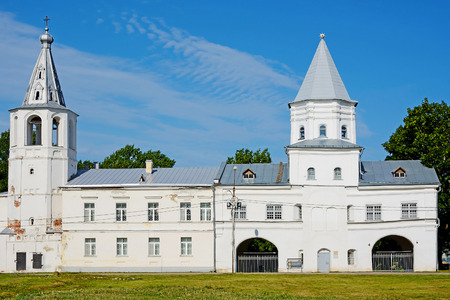 st  nicholas cathedral: Novgorod the Great, the bell tower of St. Nicholas Cathedral and the Gate tower of Gostiny Dvor Stock Photo