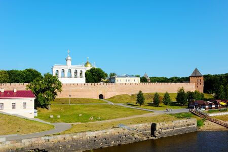volkhov: Novgorod the Great, view of the citadel from the bridge across the Volkhov river
