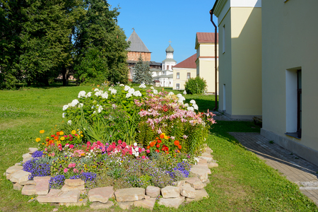 cine: Novgorod the Great, a flower bed in the referees town the citadel Stock Photo