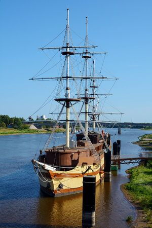 frigate: Novgorod the Great, the frigate berthed on the Trade side Stock Photo