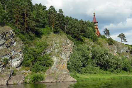 mount tom: The Chapel Of St.. Cyril and Methodius on the rocky Bank of the river Tom, not far from Kemerovo