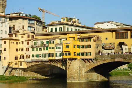 arno: Florence, the famous bridge Ponte Vecchio across the Arno river Stock Photo