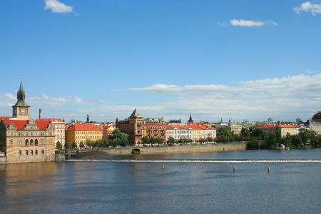 vltava: Prague, view from the Charles bridge on the river Vltava Stock Photo
