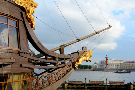 bowsprit: St. Petersburg, the bowsprit of the frigate Grace and the spit of Vasilievsky island Stock Photo