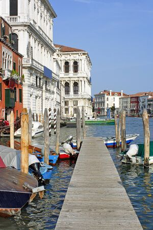 wooden dock: Venice, wooden dock on the Grand canal near the Rialto market
