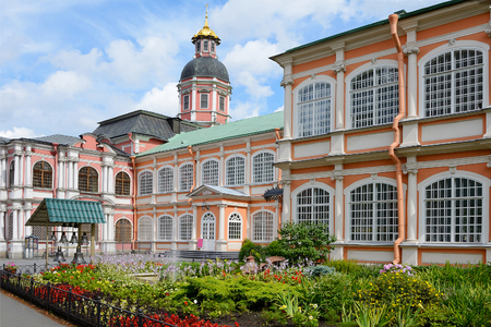alexander nevsky: St. Petersburg, flower garden the Holy spirit the corps of Alexander Nevsky Lavra Stock Photo