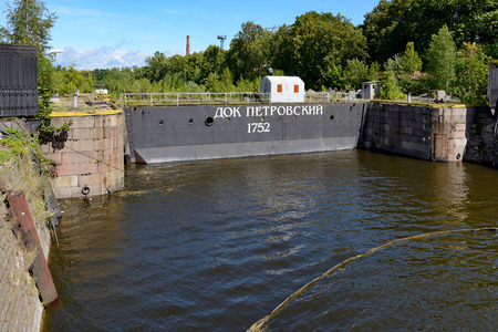 peter the great: Kronstadt, the gates of Petrovsky dock, built by the project of the Emperor Peter the Great