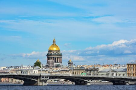 blagoveshchensky: St. Petersburg, view from quay of Lieutenant Schmidt on Blagoveshchensky bridge and St. Isaacs Cathedral dome