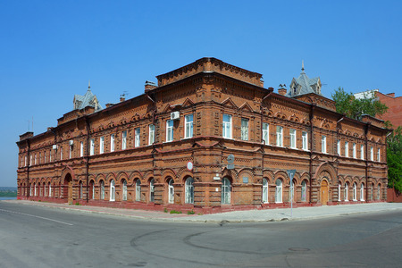 eclecticism: Tomsk, old brick building at the Central square of the city Stock Photo