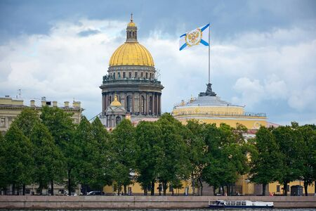 dome building: Saint-Petersburg, Admiralty embankment, the Admiralty building and St. Isaacs Cathedral dome Stock Photo