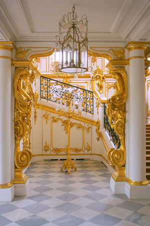 summer residence: City Peterhof, the summer residence of the emperors of Russia, interior in the grand staircase of the Grand Palace