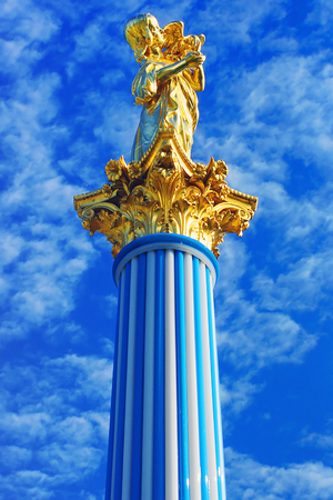 sculptor: Sculpture Girl with parrot German sculptor Berges to Crystal column. Czarinas Island, Peterhof.