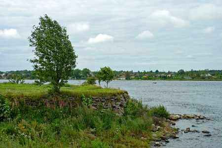 ladoga: Walnut island in the place of the source of the river Neva from the lake Ladoga Stock Photo