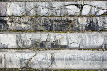 novosibirsk: The texture of the stone in the development of the old marble quarry near the village of Peteni, Novosibirsk region