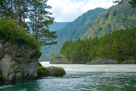 katun: The confluence of the Katun and Chemal, Altai mountains Stock Photo