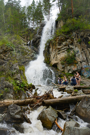 altai mountains: Waterfall on the river Kamyshla near the village of Barangol in the Altai mountains