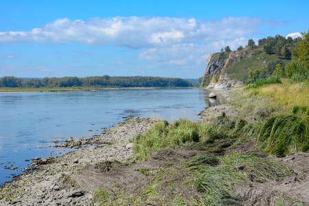 Views of limestone cliffs Pescherka on the banks of the river Tom