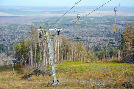 Ski lift at the resort in the mountains, Salair mountain range, Kemerovo region