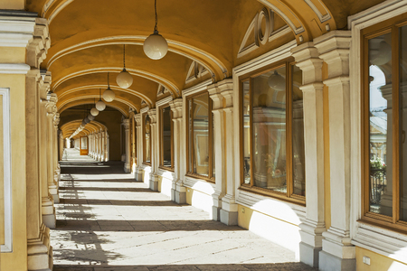 St. Petersburg, an open gallery on the second floor of the courtyard building on Nevsky Prospekt