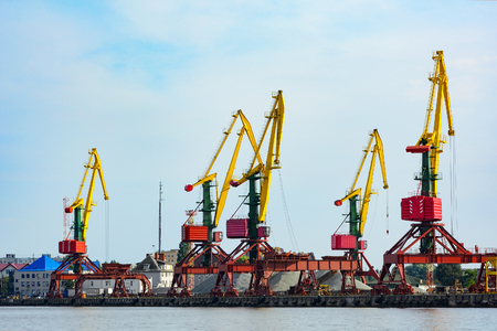 Kaliningrad, cranes in the port on the river Pregel Stock Photo
