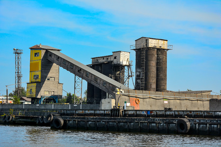 Kaliningrad, cement terminal at the commercial sea port on the river Pregel Stock Photo
