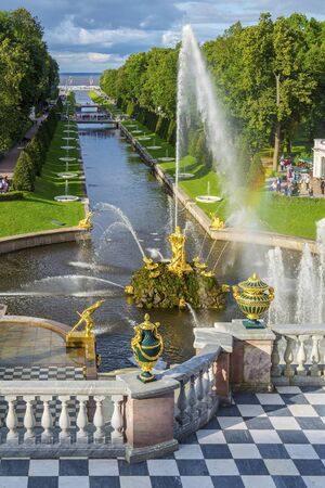 Peterhof, Russia-August 27, 2017:  view from the terrace of The Grand Cascade to the Samson fountain and the great Samson canal